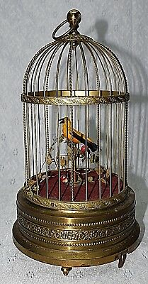 Antique Early Automaton Brass Bird Cage Singing Music Box  Real feathers  ESTATE