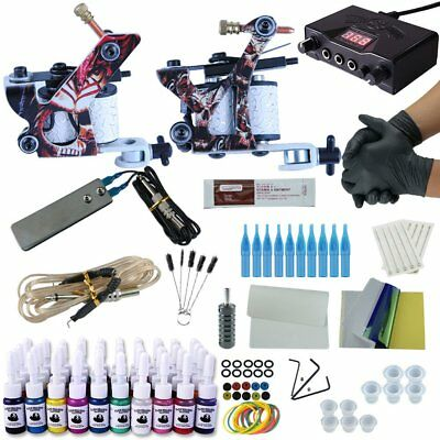 Complete Tattoo Kit 2 Tattoo Guns Machines Power Supplies 7 Color Inks Sets F5