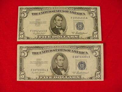 Lot of 2 1953 A $5 Silver Certificate Blue Seal AU Free S/H After 1st Item