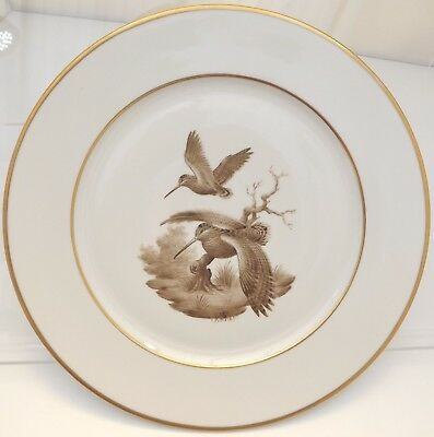 Limoges William Yeoward Hand-Painted 31cm China Plate Sepia Woodcock Game Bird