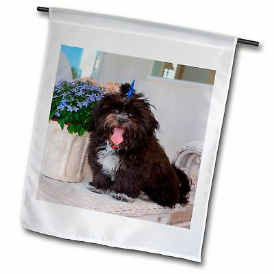 3dRose Shih Tzu Puppy Sitting by Flowers Polyester Garden Flag