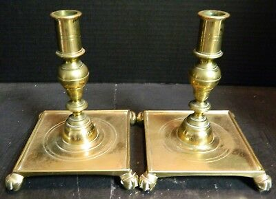 "Vintage Pair of Large Claw Footed Brass Candlesticks Square Bases 7"" x 5.5"" VG"