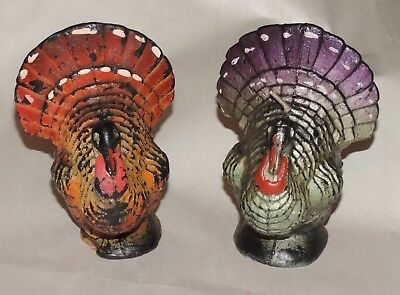 """Vintage Pair Gurley Turkey Candles Thanksgiving Halloween 2 Color Variations 4"""""""