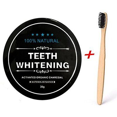 Natural Organic Activated Charcoal Tooth Teeth Whitening Powder + BAMBOO BRUSH