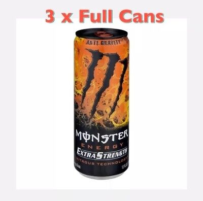 Monster Energy Drink 12oz Anti Gravity Extra Strength 3 Full Cans Lot
