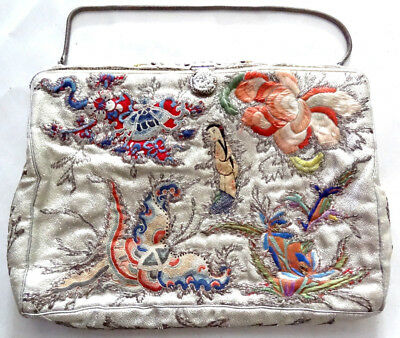 Chinese Japanese Vintage Hand Embroidered Clutch Bag Purse Silver Multi small
