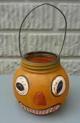 Antique JACK O LANTERN Glass Halloween Candy Candle Container LE Smith RARE 1930