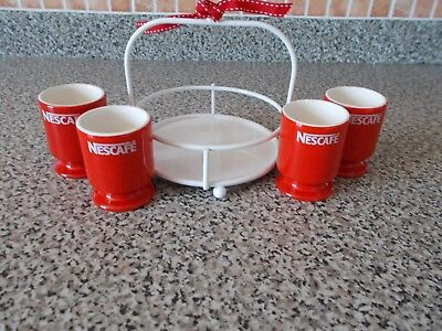 Set of 4  Nescafe Red egg Cups in White Metal Holder - Vintage & Collectable