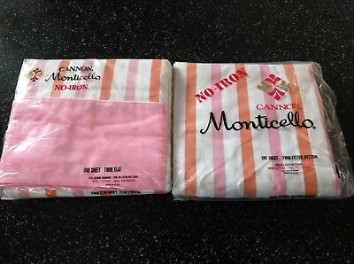 Vintage Cannon Monticello Twin Flat Fitted Sheets Orange Pink Stripe Nip