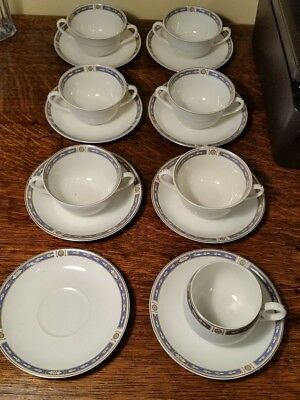 Grindley Monmouth Smooth Edge 6 Bullion Cups, 1 Cup, & 8 Saucers