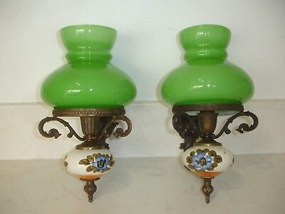 Pair Of Vintage French Wall Lights. Green Globes With Antique Brass.