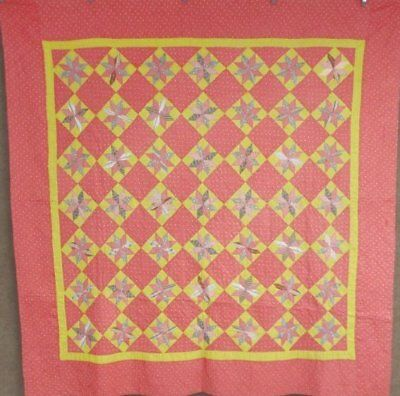 Farmhouse PA c 1890s Star ANTIQUE Quilt SMALL Scale Unused