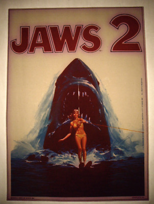 RARE 70s Iron On T-Shirt Transfer JAWS 2 Vintage NOS