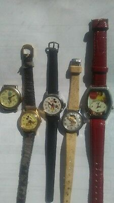 Lot of character watches.Mickey mouse Parts/ repair