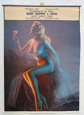 Rare Vintage 1951 Nude Pinup Girl Advertising Calendar Top Bakery Cleveland Oh