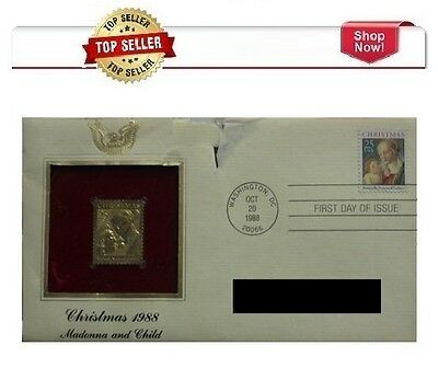 Postal Commemorative Society Christmas 1988 Madonna and Child Gold Stamp