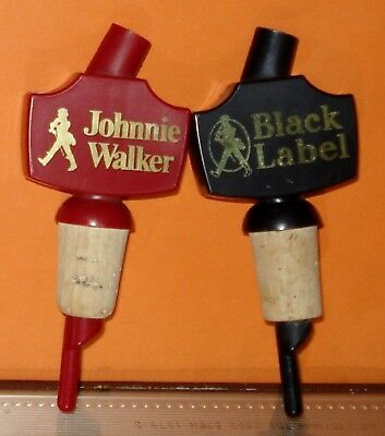 2 Vintage JOHNNIE WALKER + JOHNNIE WALKER BLACK LABEL Pourer / Stopper - Plastic