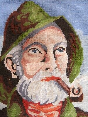 Vintage Gobelin Old Fisherman with Pipe Petit Point Needlepoint Tapestry