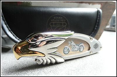 "FRANKLIN MINT HARLEY DAVIDSON SAMMLER MESSER ""1990 FAT BOY"" in MESSERTASCHE"