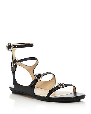 766c977527f Jimmy Choo NAIA Black w  Crystal Buckle Leather Sandal FLATS 40 ~ NEW  695