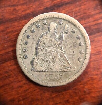 1857 25 Cent Seated Liberty Silver Quarter Collectible Coin