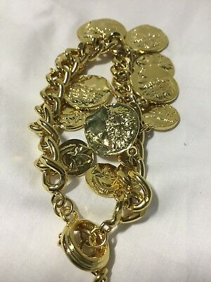 Ladies Yellow Gold Plated Ancient Greek-Roman Replica Coins Charm Bracelet