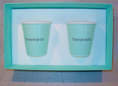 "New Tiffany & Co ""Paper Coffee Cup"" In Box Gift Set Of 2 BONE CHINA"