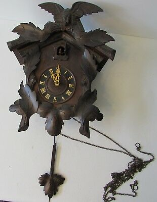Antique AMERICAN Cuckoo Clock Co. Black Forest AS-IS Parts or Repair