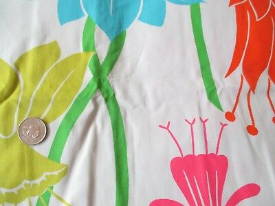 GROOVY Vintage MULTI-COLORED FLOWERS On WHITE 1970's COTTON Fabric-shy 3 yd