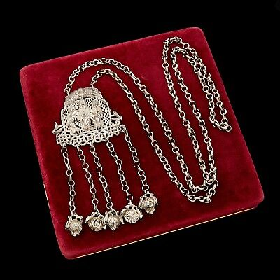 Antique Vintage Art Deco Sterling Silver Chinese Court Repousse Scenic Necklace