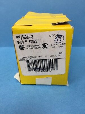 Lot of 153 BK/MDX-3 Bussmann 3A Time Delay Glass Tube Fuses