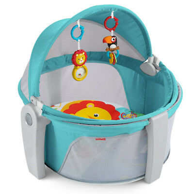 Fisher-Price On-The-Go Baby Dome Portable Crib Playpen Collapsible Sun Canopy