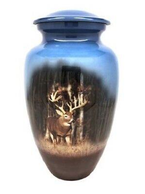 Small/Keepsake 3 Cubic Inch Deer in Woods Aluminum Cremation Urn for Ashes