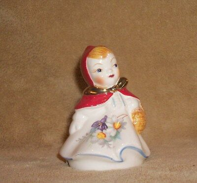 "Vintage Little Red Riding Hood Pie Bird Vented 3 1/2"" Tall  Floral Gold Accents"