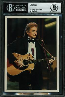 Johnny Cash Authentic Signed 5x7 Photo Autographed BAS Slabbed
