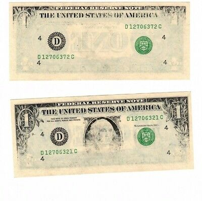Two Insufficiently inked dollar bills - serial numbers only 51 numbers apart