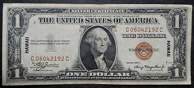 1935--A One Dollar $1 Hawaii Brown Seal Silver Certificate