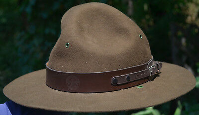 Vintage Boy Scouts Of America Scout Master Official Hat 7 1/2 Drill Sergeant Hat