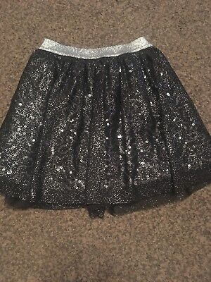 Gorgeous Silver And Black Sequin And Glitter Skirt By George 7-8 Years