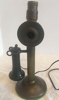 Vintage Brass In Very 1915 Western Electric Candlestick Phone Lamp