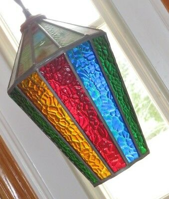 Hanging Slag Stained Glass Porch Light Lamp Pendant Hall Vintage Swag Church