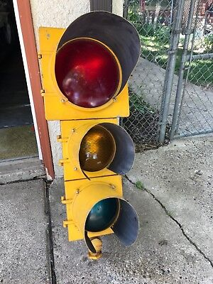 Vintage Econolite Industrial Traffic Street Light Signal Original With Shades