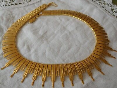 Stunning Vintage 1960s Gold Collar Necklace