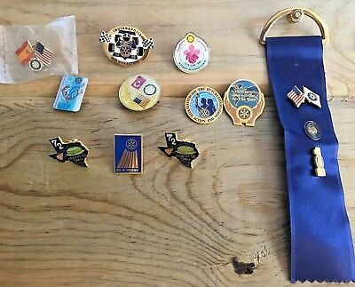Vintage ROTARY INTERNATIONAL Lot of 14 Pin Backs, Tie Tack, Ribbon