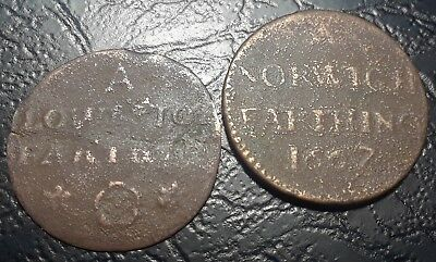 "Very Rare Coins England 1667 ""norwich""  Farthing Tokens Late 17Th Century Coins"