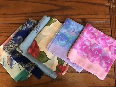 Lot of 6 Floral Silk Scarfs Square Vintage Very Good Condition