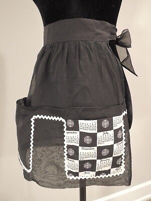 Vintage cotton sheer dainty black kitchen half apron with calendar motif