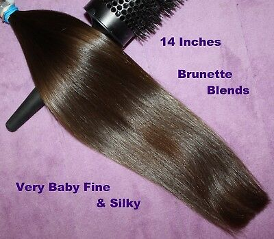 HUMAN HAIR HAIRCUT 14 INCH 1.6oz VERY BABYFINE BRUNETTE BLENDS PONYTAIL S22