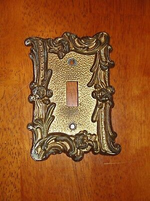 Cast Metal Single Light Switch Plate Cover Carved w/o Screws Vintage EDMAR