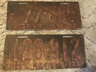 2 WV West Virginia License PlateS 1923